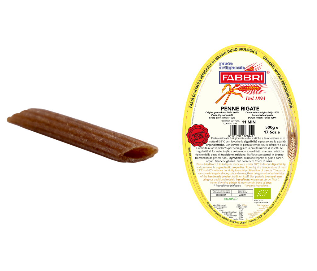 Organic Penne Rigate 100% ancient Timilia wheat